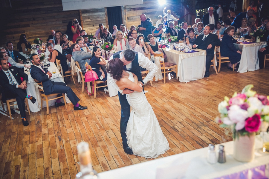 bride groom kiss first dance cornerstone theatre canmore wedding