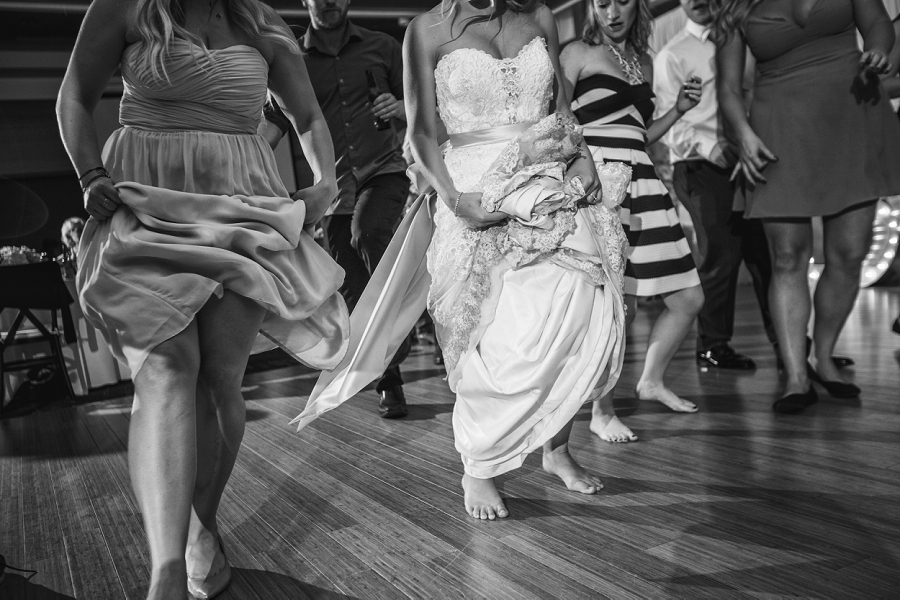 black and white bridesmaid with bride calgary zoo summer wedding