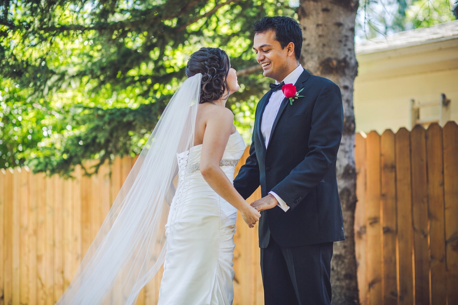 groom sees bride first time first look calgary wedding
