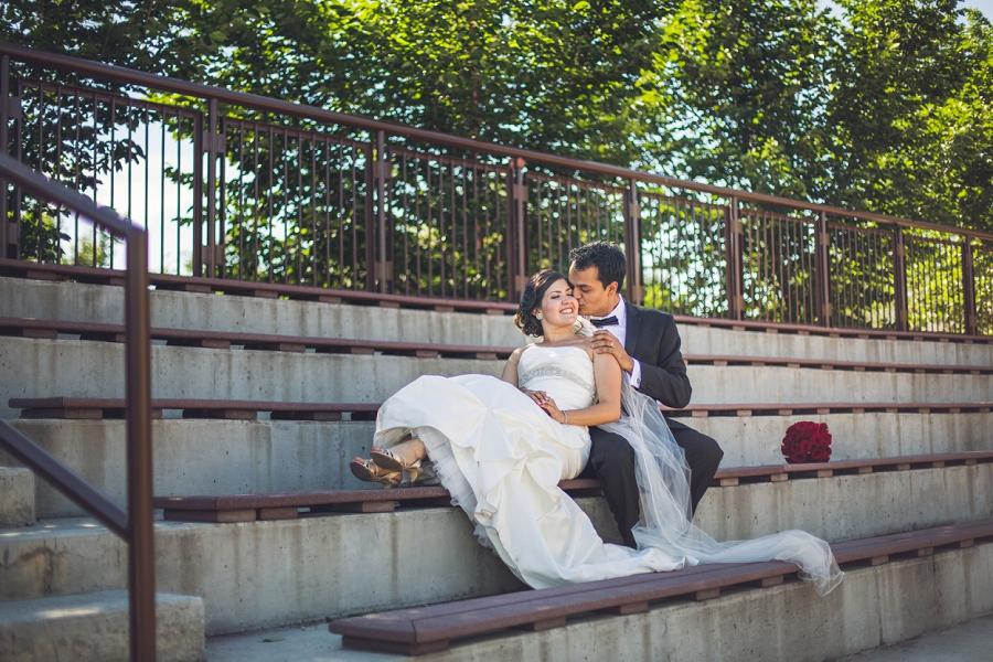 international wedding calgary zoo bride groom on stairs