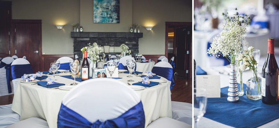 blue and white reception decor lynx ridge golf club calgary wedding photographer