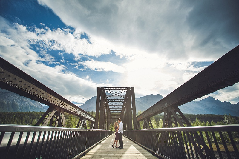 engine bridge canmore quarry lake engagement session