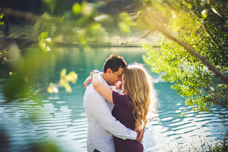 bride groom emerald water canmore quarry lake engagement session