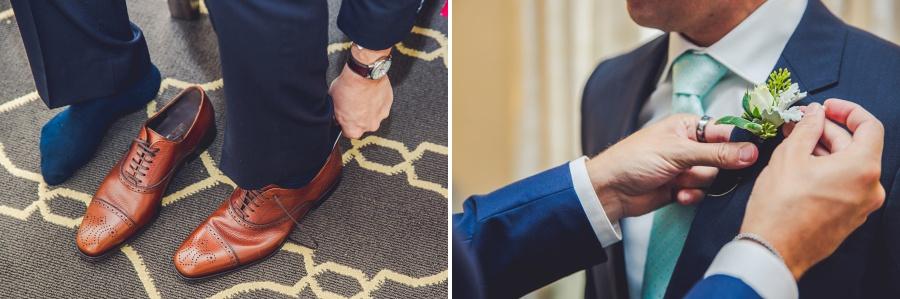 fairmont palliser calgary wedding tan leather groom shoes teal tie