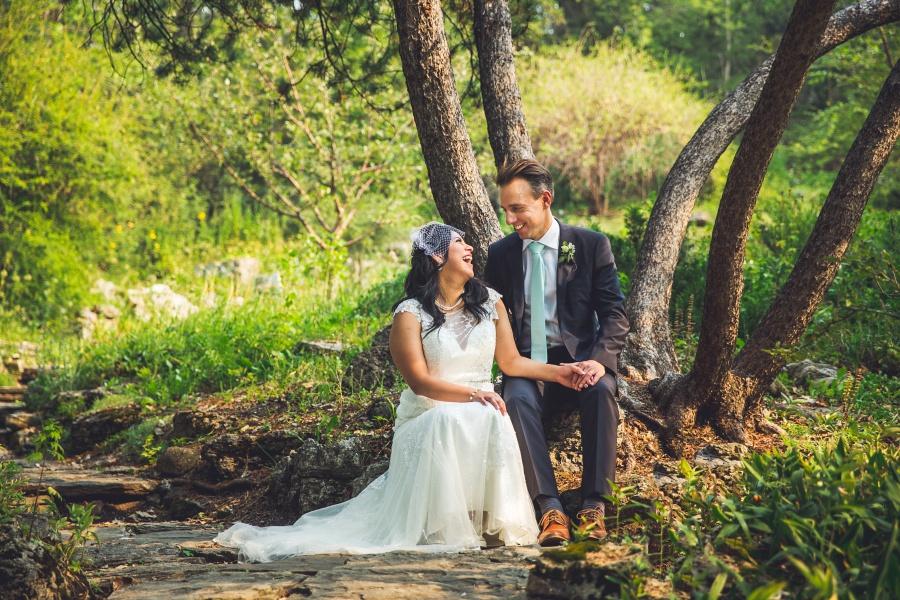 bride groom laughing reader rock garden wedding calgary