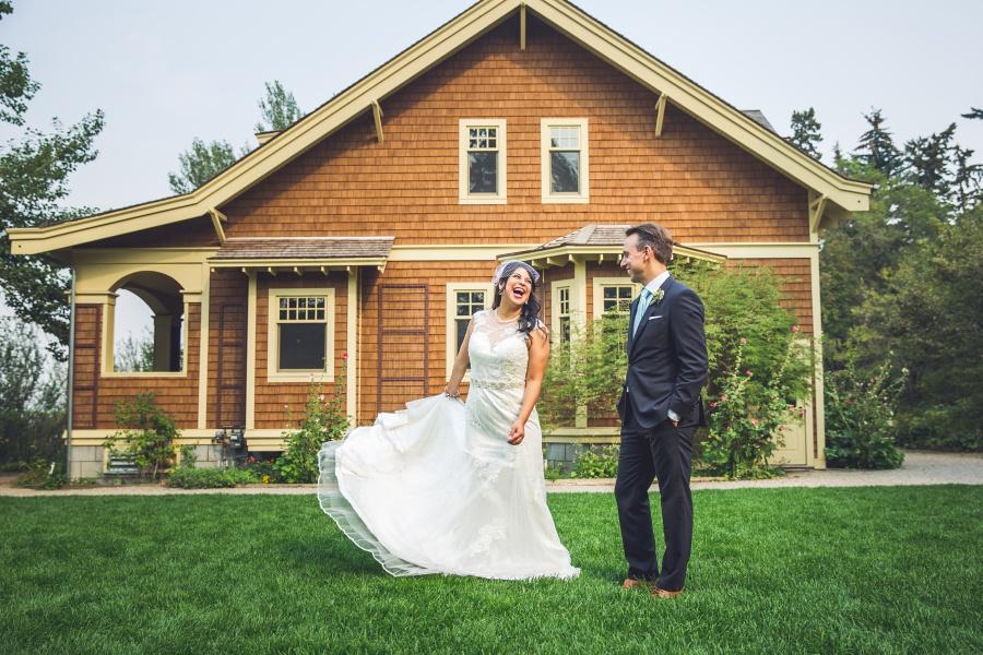 bride with sequin wedding dress cute reader's garden cafe calgary
