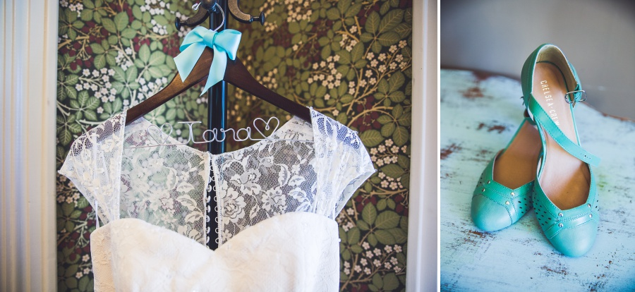 Custom bridal dress hanger lace bridal dress teal bride shoes