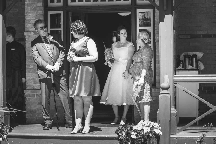 Bow Valley Ranche Restaurant Calgary Wedding bride ready to walk down aisle