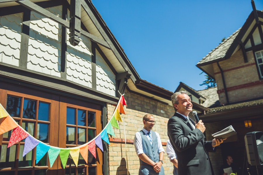 Bow Valley Ranche Restaurant Calgary Wedding rainbow flag banner