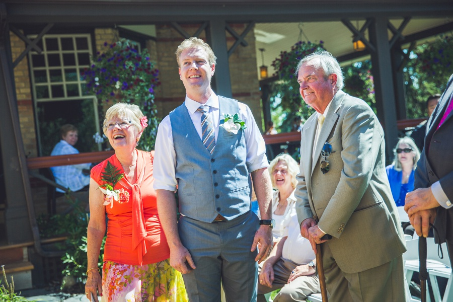 Bow Valley Ranche Restaurant Calgary Wedding groom with parents