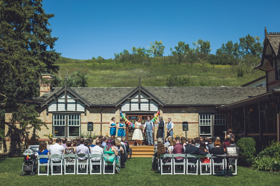 Bow Valley Ranche Restaurant Calgary Wedding backyard ceremony