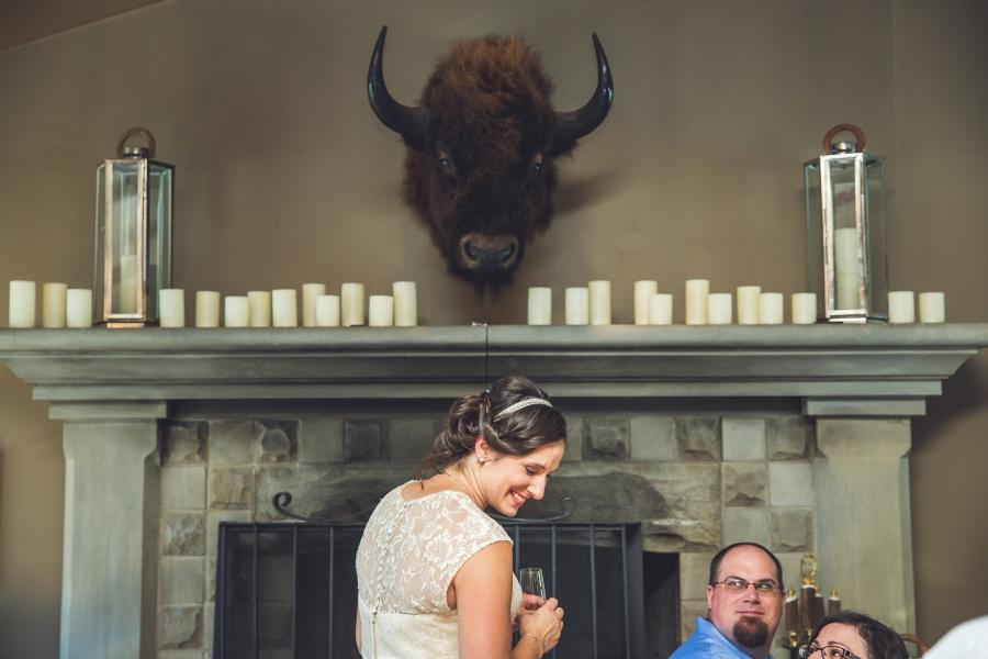 Bow Valley Ranche Restaurant Calgary Wedding buffalo head