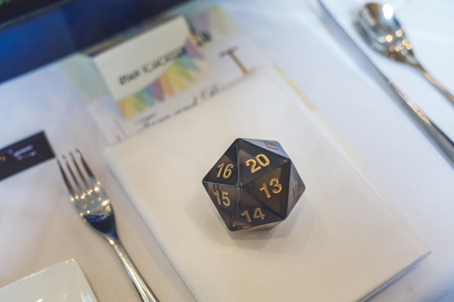 d20 20 sided dice Teatro Restaurant Calgary Wedding