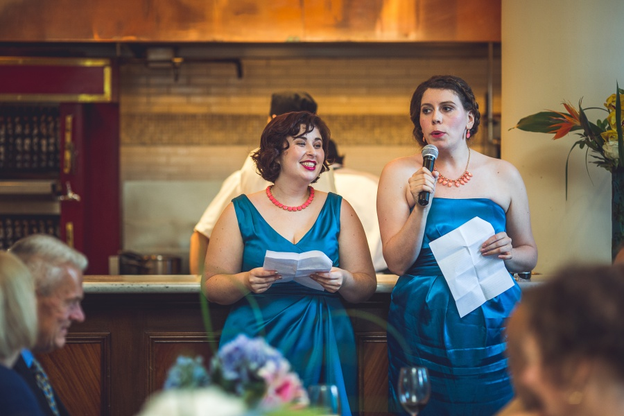 Teatro Restaurant Calgary Wedding blue bridesmaid dresses speech