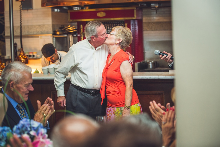 parents of groom kissing Teatro Restaurant Calgary Wedding