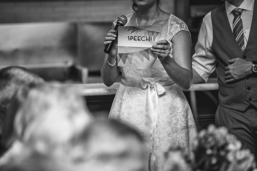 bride's speech Teatro Restaurant Calgary Wedding