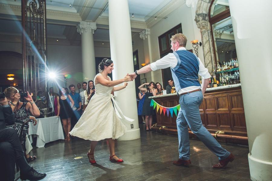 bride groom first dance Teatro Restaurant Calgary Wedding