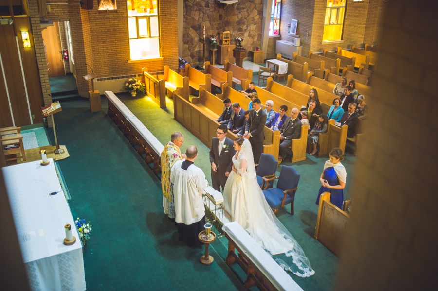 st anthony's parish calgary latin wedding photographer cathedral style veil