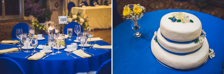 calgary latin wedding photographer carriage house inn reception blue decor yellow florals