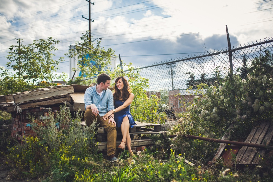 calgary ramsay engagement photos wooden palettes greenery