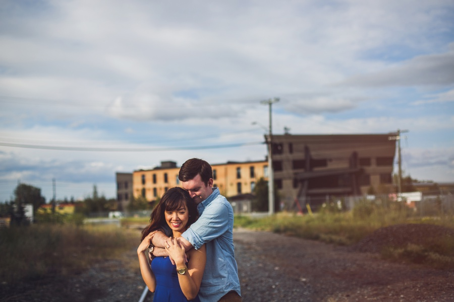 calgary ramsay engagement photos couple hugging