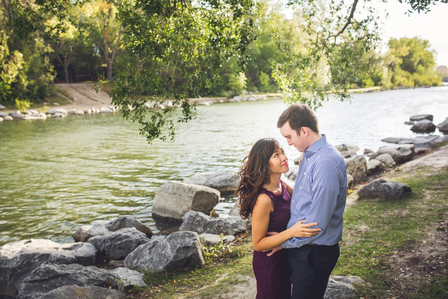 calgary ramsay engagement photos princes' island park with river