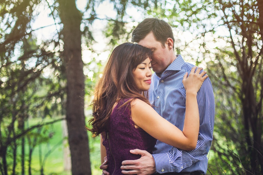 calgary ramsay engagement photos couple hugging bride purple dress