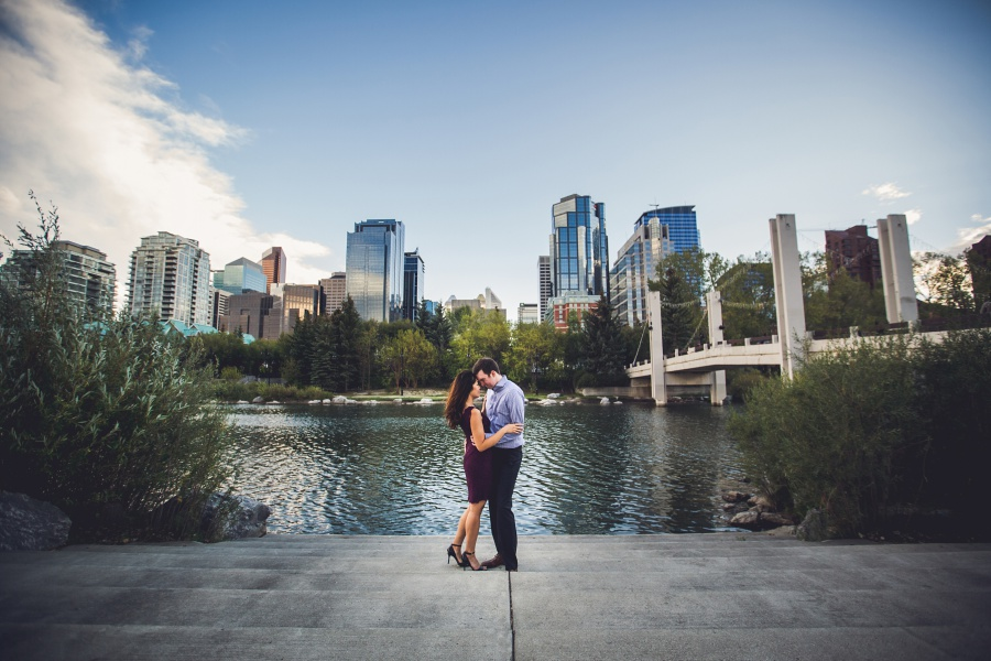 calgary ramsay engagement photos calgary downtown view juniper bridge