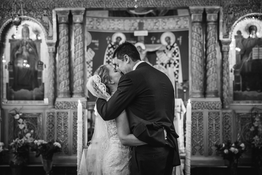 St. Demetrios Greek Orthodox Church calgary bride groom first kiss