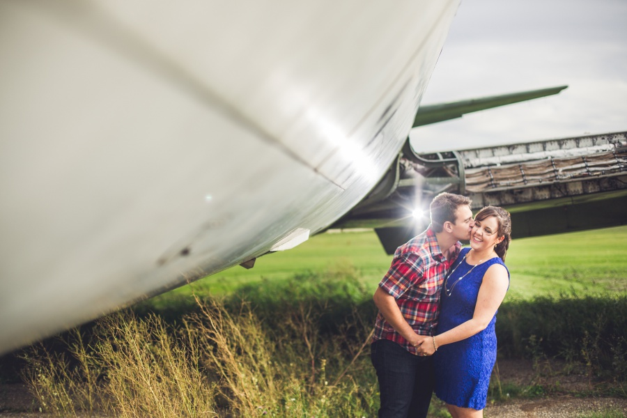 calgary engagement photos blue dress plaid shirt