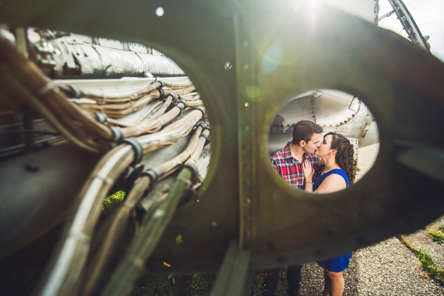 calgary engagement photos private plane graveyard couple