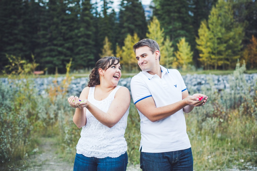 canmore engagement photos holi powder