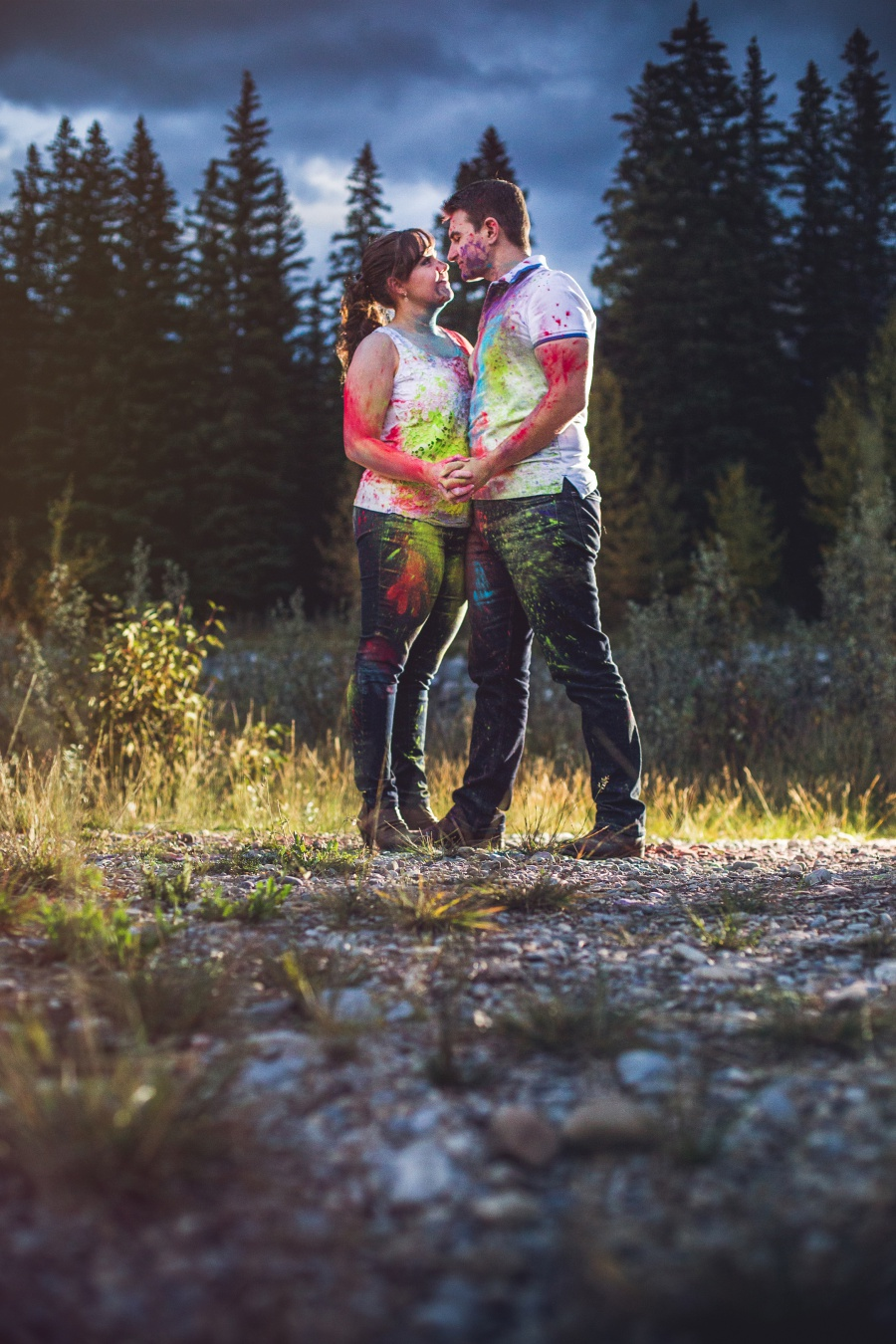canmore engagement photos holi powder cute couple