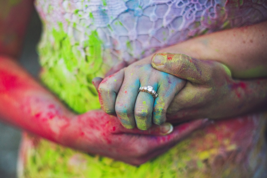 canmore engagement photos holi powder engagement ring photo