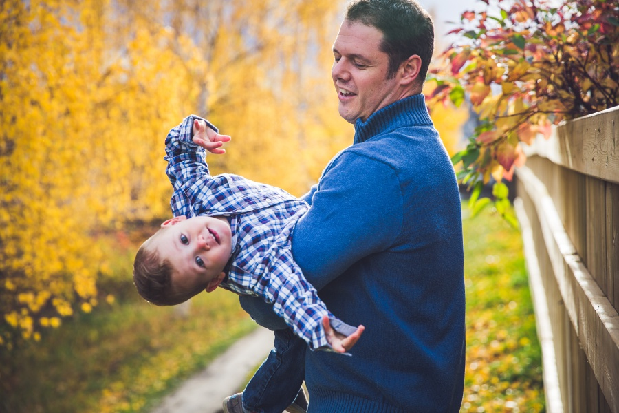 calgary family fall photography father and son goofing