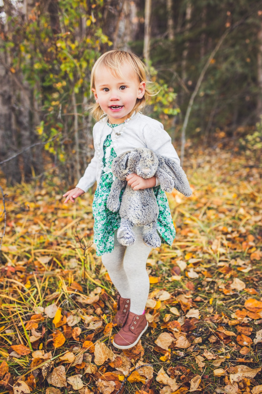 blond haired little girl in fall canmore family photos quarry lakes
