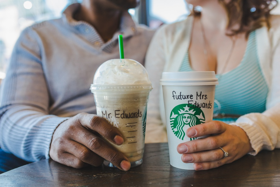 calgary starbucks engagement photos writing on cups