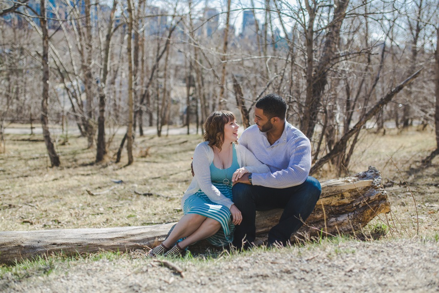 teal striped dress engagement photos mixed race couple calgary