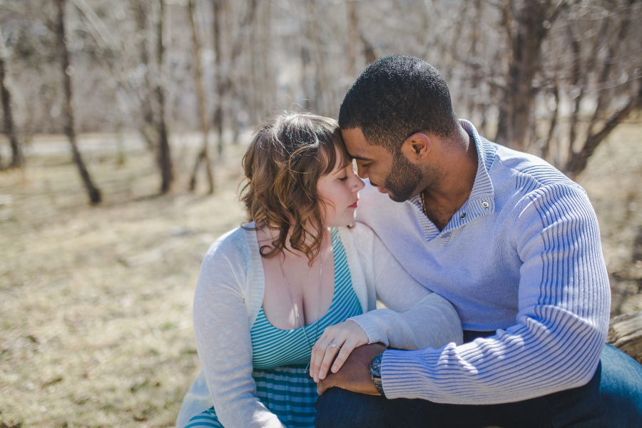 winter engagement photos calgary mixed race couple