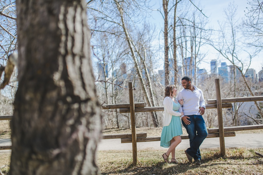 winter engagement photos teal stripped dress