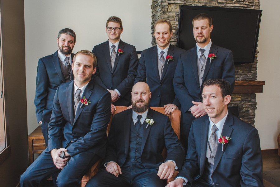 Winter Mountain Canmore Wedding Groom Groomsmen black suits red roses