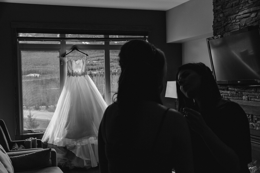 Winter Mountain Canmore Wedding Bride Princess Dress