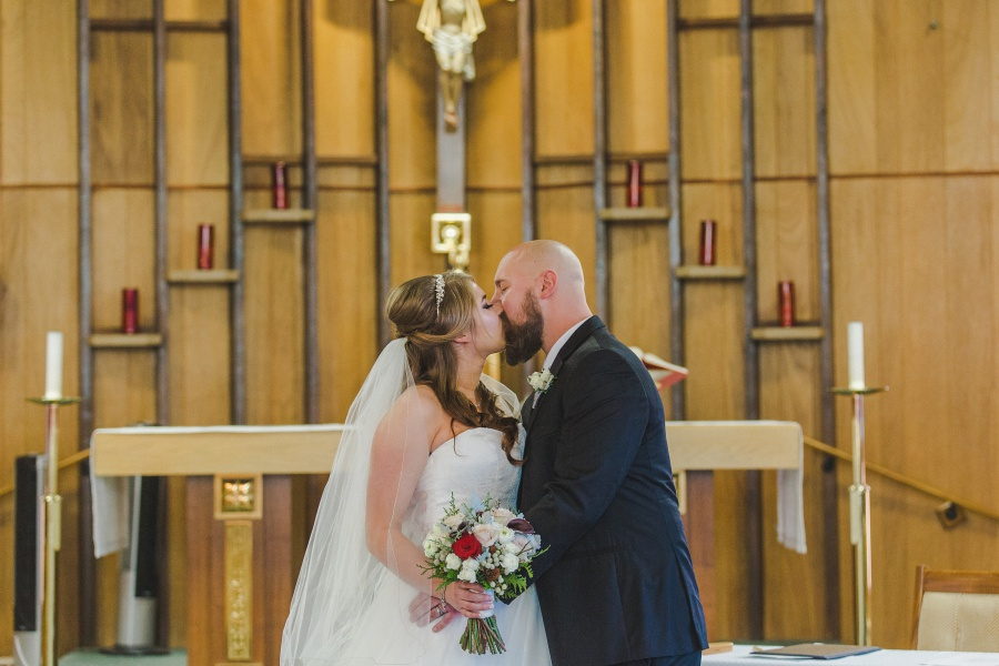 first kiss church parish Winter Mountain Canmore Wedding