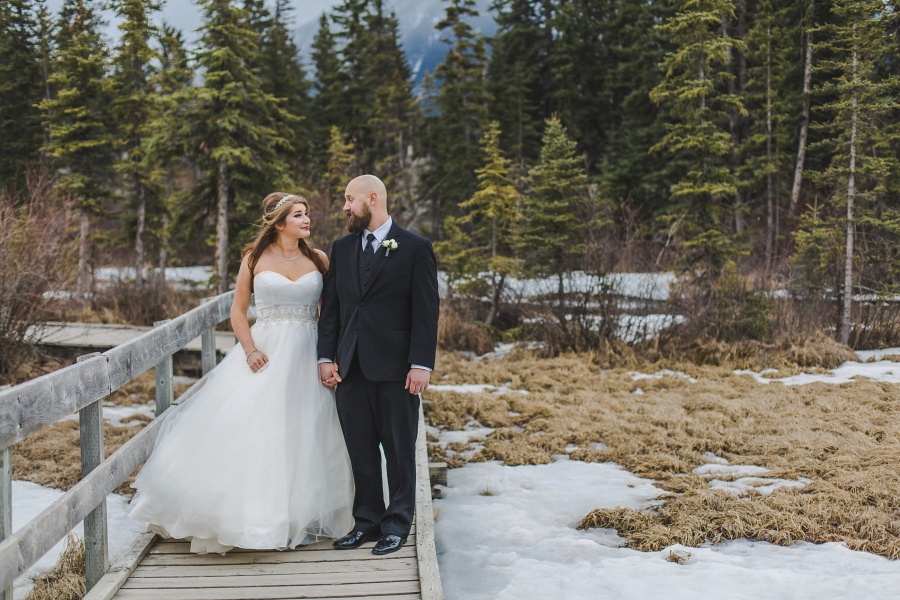 Winter Mountain Canmore Wedding bride groom policeman's creek