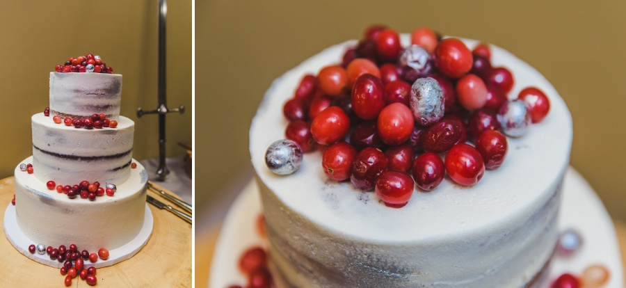 Winter Mountain Canmore Wedding Silvertip Resort white wedding cake with cranberries