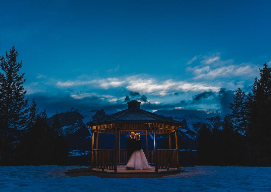 Winter Mountain Canmore Wedding Silvertip Resort gazebo