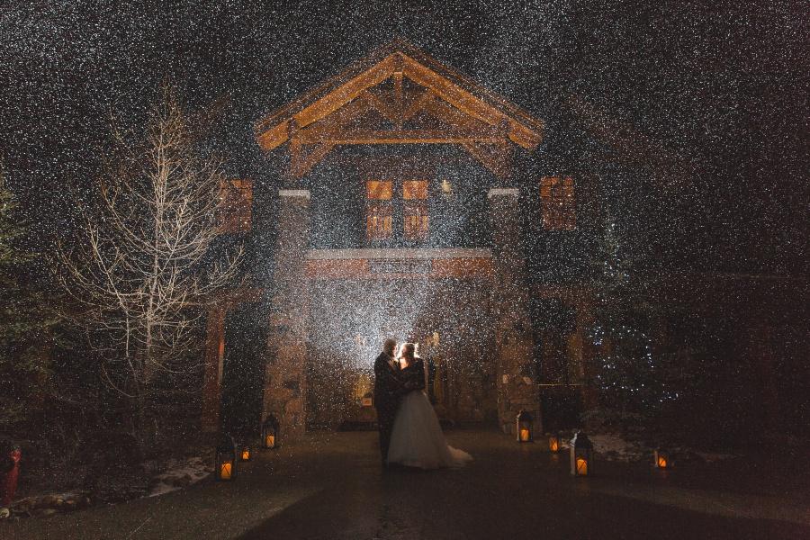 snow night photo Winter Mountain Canmore Wedding Silvertip Resort