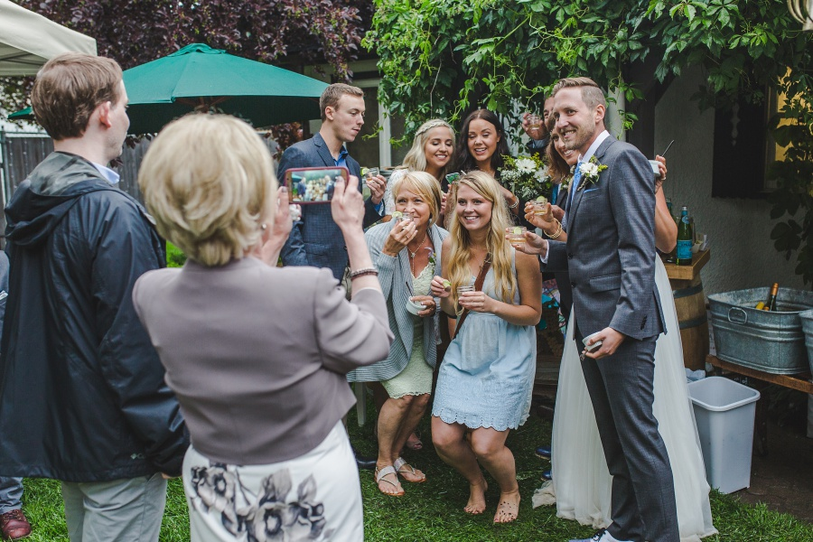 calgary backyard wedding selfie