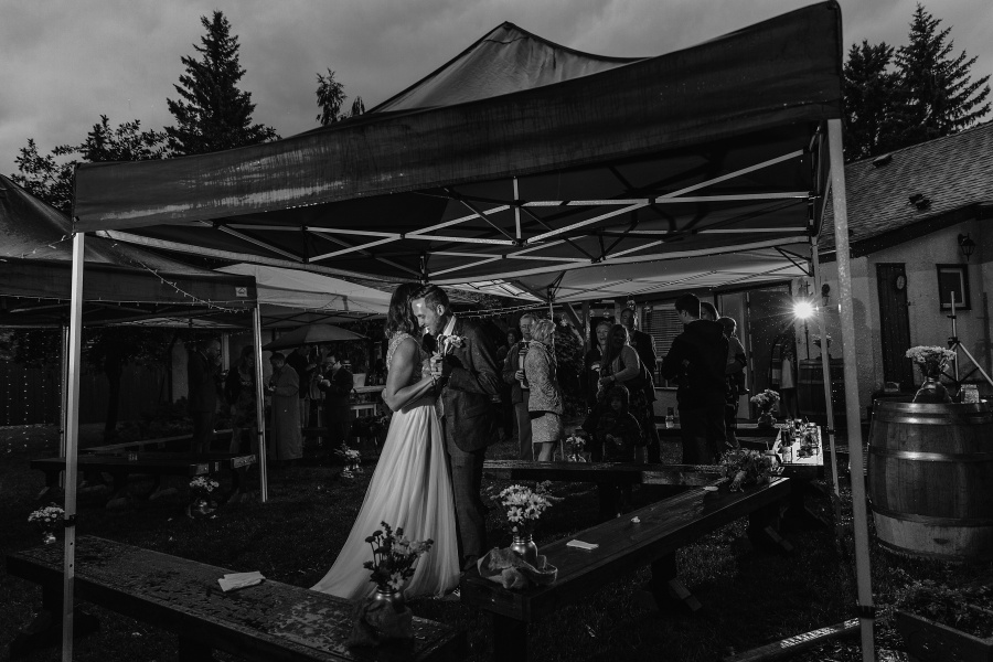 tent dancing calgary backyard wedding