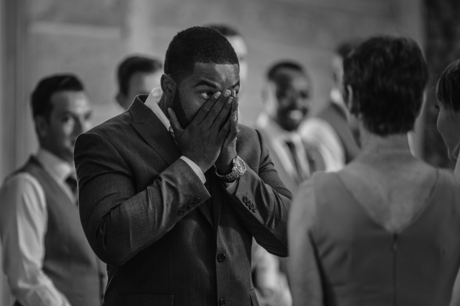 cochrane ranchehouse wedding calgary groom crying